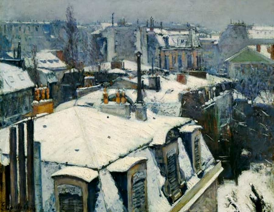 impressionnisme Gustave Caillebotte paysage de toit dans la neige