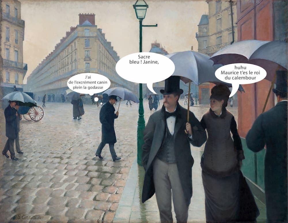 rue de paris temps de pluie caillebotte en BD / meme à remplir soi-même